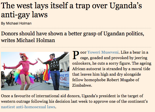 The west lays itself a trap over Uganda's anti-gay laws