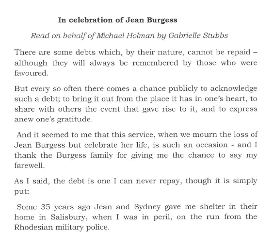 In celebration of Jean Burgess