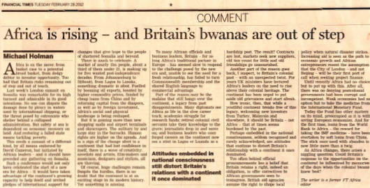 Africa is rising - and britain's bwanas out of step
